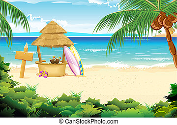 Calm Beach - illustration of straw hut and surfing board in...