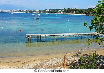 Calm beach in Antibes, France