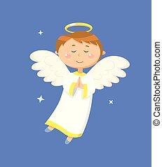 Calm Boy Angel Praying, Peaceful Angelic Child