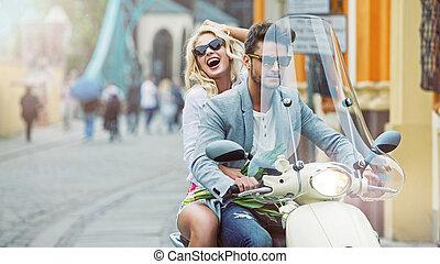 Calm boyfriend giving his girlfriend a lift - Handsome...