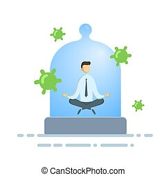 Calm businessman meditating under the glass dome with viruses flying around. Coronavirus prevention, stay indoors, world quarantine concept. Flat vector illustration, isolated.