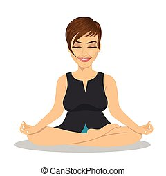 Calm businesswoman meditating in lotus pose