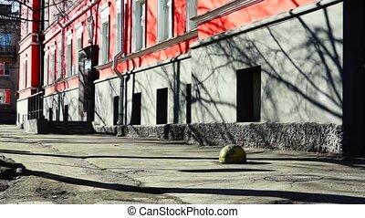 Calm city street in spring day