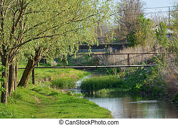 Calm countryside spring river scene