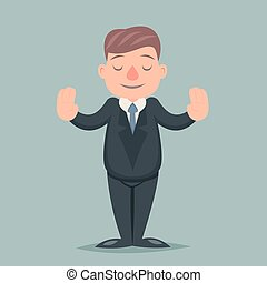 Calm Down Peace Businessman Pacify Emotion Character Icon...