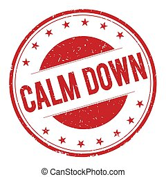 CALM-DOWN stamp sign text word logo red.