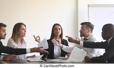 Calm female worker meditate at business meeting avoiding...