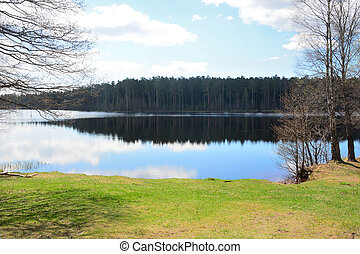Calm forest lake with reflections. Russia, Saint-Petersburg region