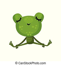 Calm frog sitting with closed eyes. Cartoon character of cute green toad. Relaxing and meditation. Flat vector design for children book
