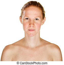 Calm single red haired female with bare shoulders