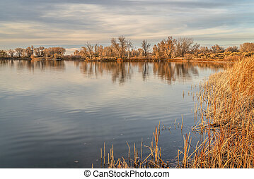 calm lake at sunset in northern Colorado