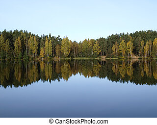 Calm lake - Calm, deep forest lake. Autumn season