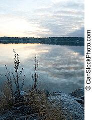 Calm lake in twilight