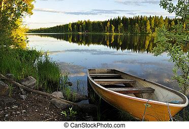 Calm lake reflection and a forsaken boat