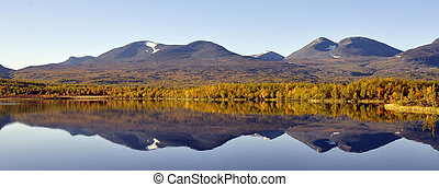 Calm lake reflection in Abisko national-park at autumn