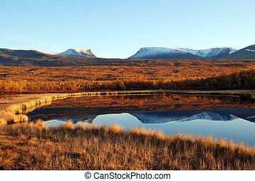 Scenic view of lake in Abisko nationalpark of Sweden