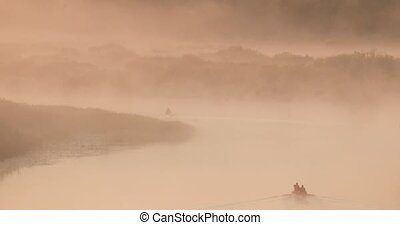 Calm Lake, River And Man Fishing From Old Wooden Rowing ...