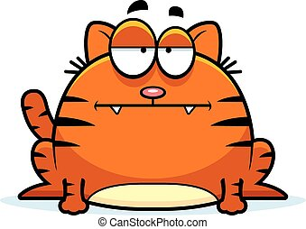 Calm Little Cat - A cartoon illustration of a cat looking...