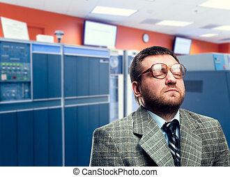 Calm man in glasses
