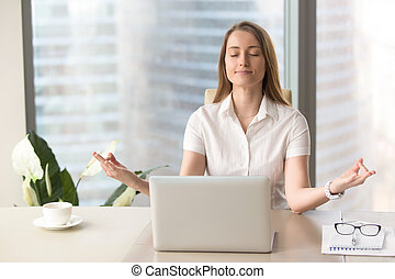 Calm mindful businesswoman practicing breathing, corporate...