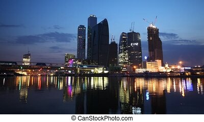 Calm Moscow-City business center at night, time lapse