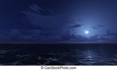 Calm ocean under starry night sky - Calm ocean waves under...