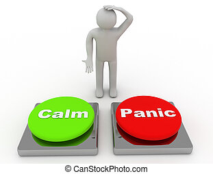 Calm Panic Buttons Show Panicking Or Calmness Counseling . 3d rendered illustration