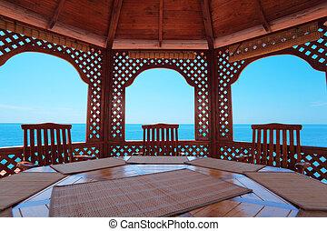 calm pavilion near sea