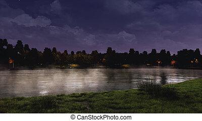 Calm pond in a city park under dark night sky - Mystic...