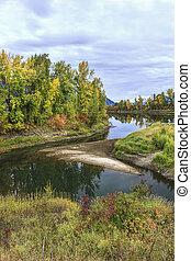 Calm river in autumn in north Idaho.