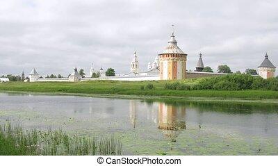Calm river in front of Spaso Prilutskij monastery