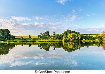 Calm river in spring