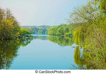 calm river spring