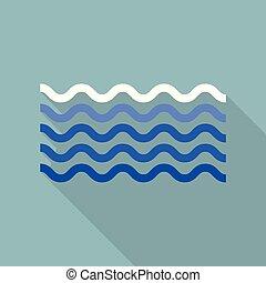 Calm sea icon, flat style