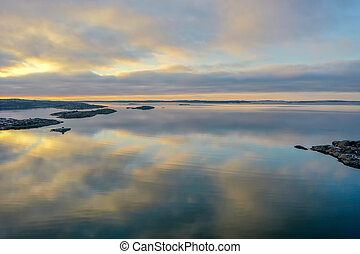 Calm sea in sunset drone photo