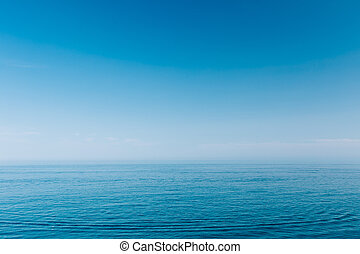 Sea Ocean And Blue Clear Sky Background - Calm Sea Ocean And...
