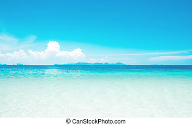 Calm Sea Ocean And Blue Sky Background