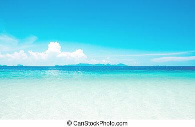 Calm Sea Ocean And Blue Sky Background
