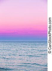 Calm Sea Ocean And Pink Sky Sunset Sunrise Background - Calm...