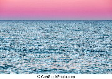 Calm Sea Ocean And Pink Sky Sunset Sunrise Background