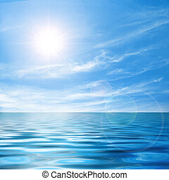 Calm seascape - Beautiful seascape with bright sunlight and ...