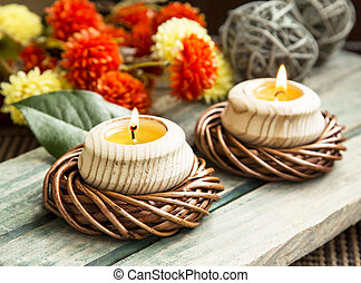 Spa Setting with Burning Candles