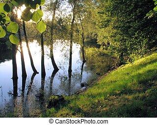 calm sunny evening on a river in Tartu, estonia