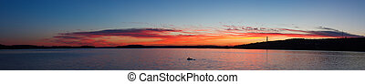 Calm sunset and clouds over lake