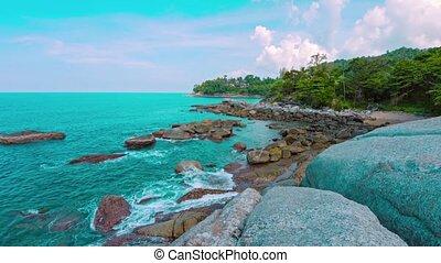 Calm Tropical Sea on Rocky Beach in Thailand - Video 1080p -...