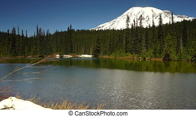 Calm Waters Ripple Reflection Lake Mount Rainier National...