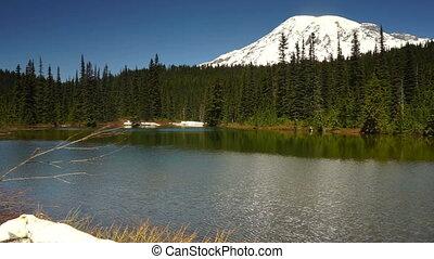 Calm Waters Ripple Reflection Lake Mount Rainier National...