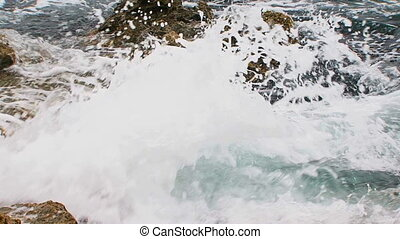 Calm Waves Of Black Sea Gently Washing Rocks