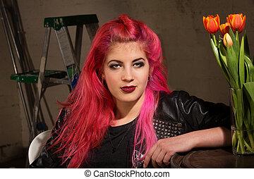 Calm Woman in Pink Hair