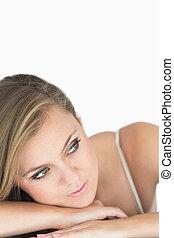 Calm woman looking away